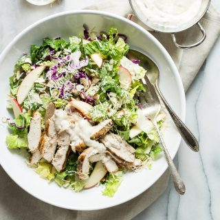 Grilled Chicken Caesar Salad with Red Cabbage and Apple