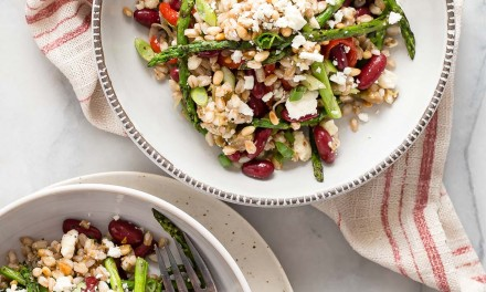 Roasted Eggplant and Farro Salad with Grilled Asparagus