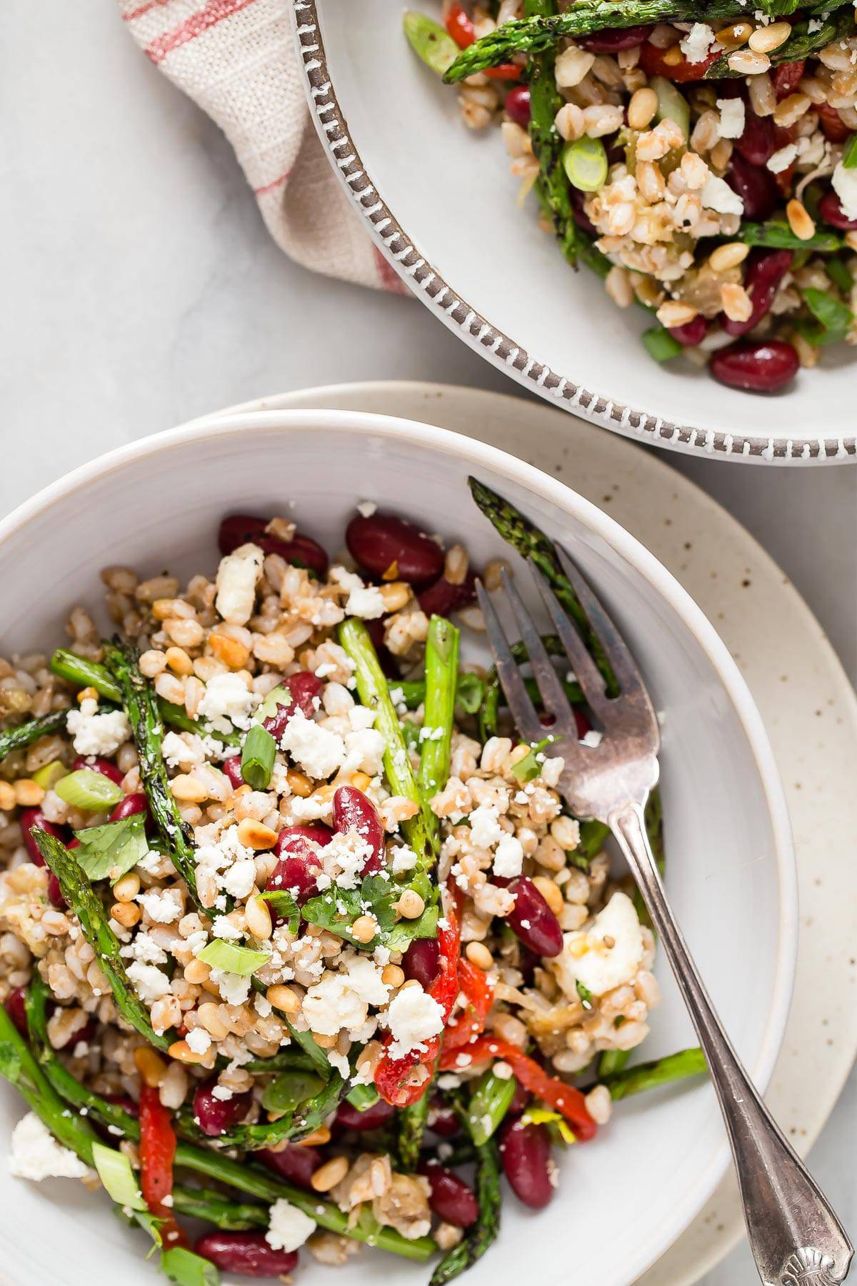 Roasted eggplant, farro and grilled asparagus are tossed in a Za'atar ...
