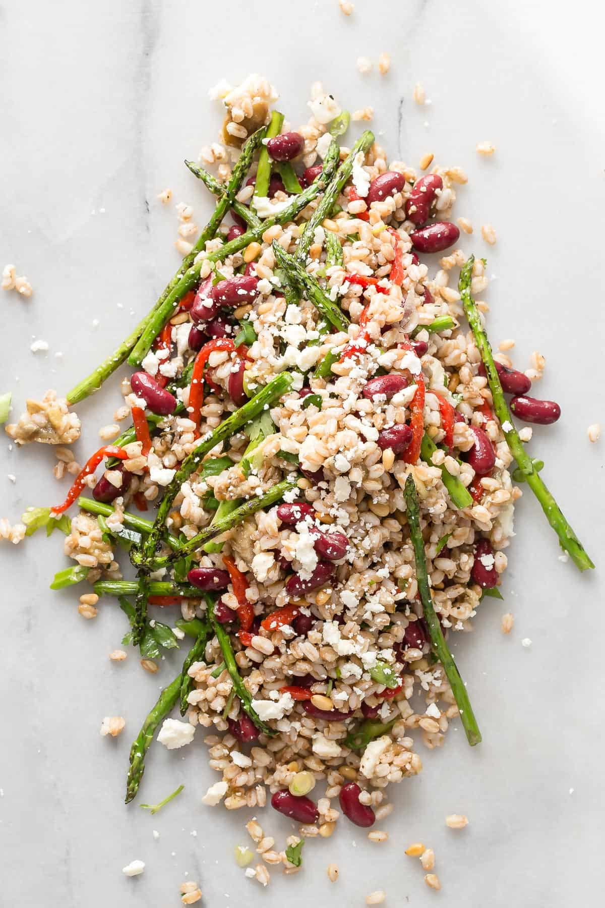 Roasted eggplant, farro and grilled asparagus are tossed in a Za'atar olive oil and lemon juice dressing