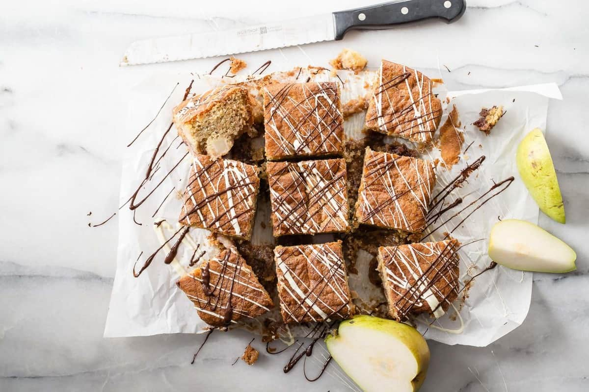 Gluten Free Coffee Cake with Pears and Blackberry Jam