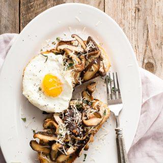 Garlic Shiitake Mushroom Breakfast Toast
