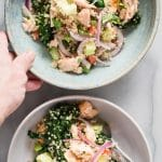 Roasted salmon flakes with quinoa and fresh steamed kale. This healthy salad is dressed in a tangy garlic and lemon sauce.