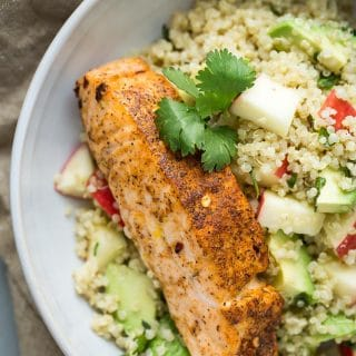 Salmon Quinoa Bowl with Avocado and Apple