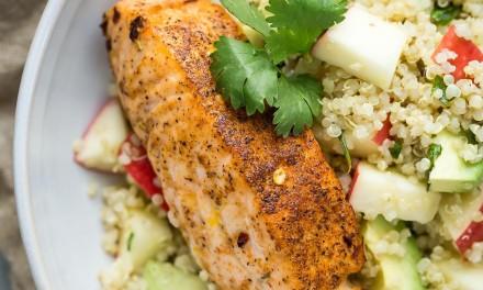 Salmon Quinoa Bowl with Avocado and Apple
