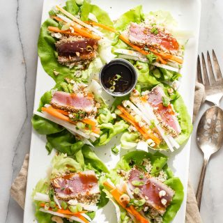 Seared Ahi Tuna Lettuce Cups