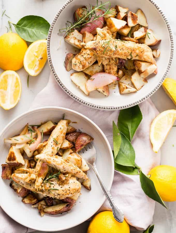 Quick and easy lemon chicken served with a side of roasted potatoes