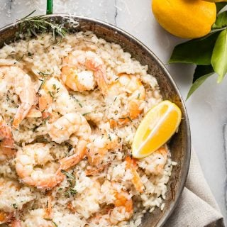 Creamy lemon risotto with rosemary and fresh Parmesan cheese