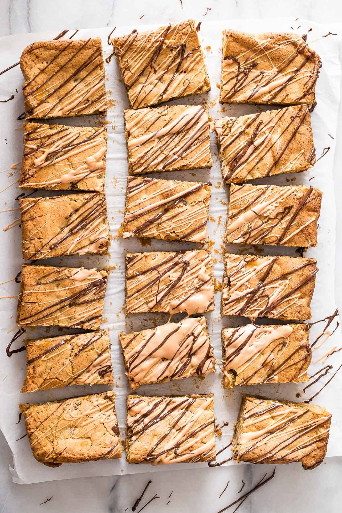 Butterscotch blondies with chopped pecans and dark chocolate chips