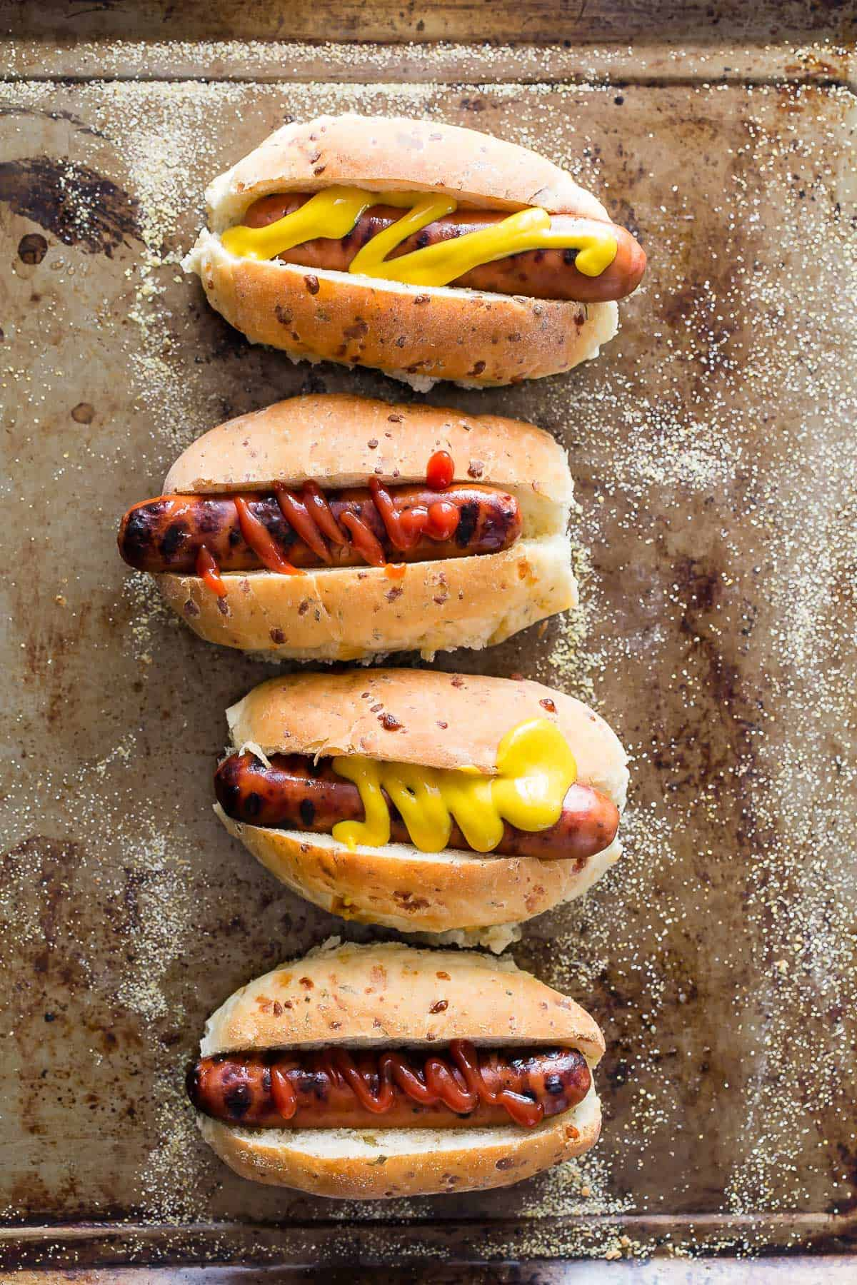 Hot Dog Buns with Cheddar Rosemary and Sage - Foodness Gracious