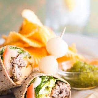 Skip the bun and use a wrap to make this easy cheeseburger wrap.
