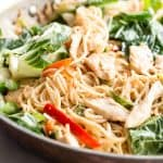 Chow mein noodles with chicken, bok choy and a light soy and sesame oil sauce
