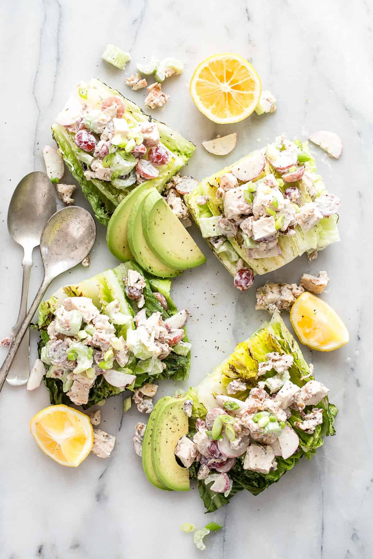 Chicken Salad on Grilled Romaine Lettuce