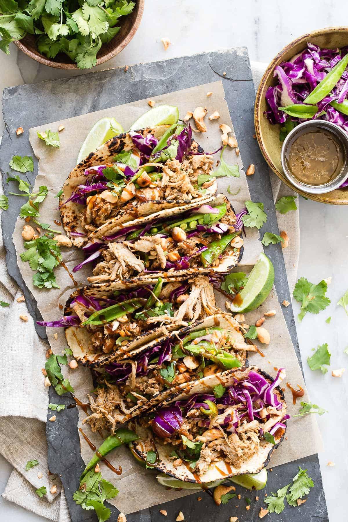 Shredded Pork Tacos with Hoisin and Asian Slaw