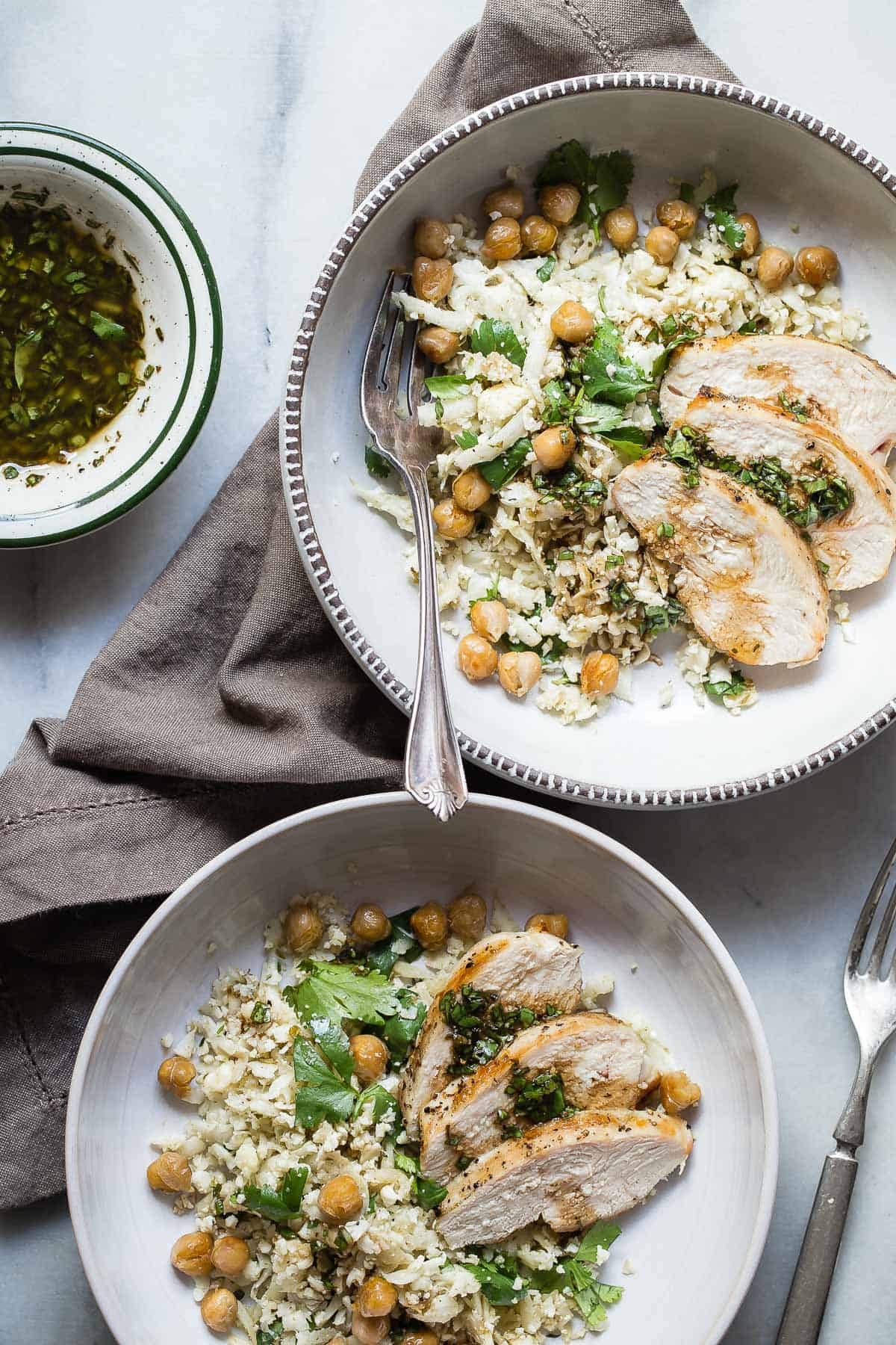 Cauliflower Rice with Grilled Chicken and Garbanzo Beans