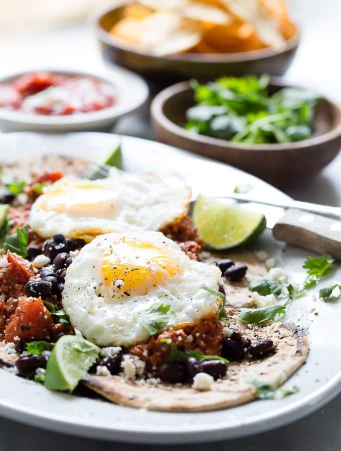 Flatout Huevos Rancheros with Chorizo and Black Beans