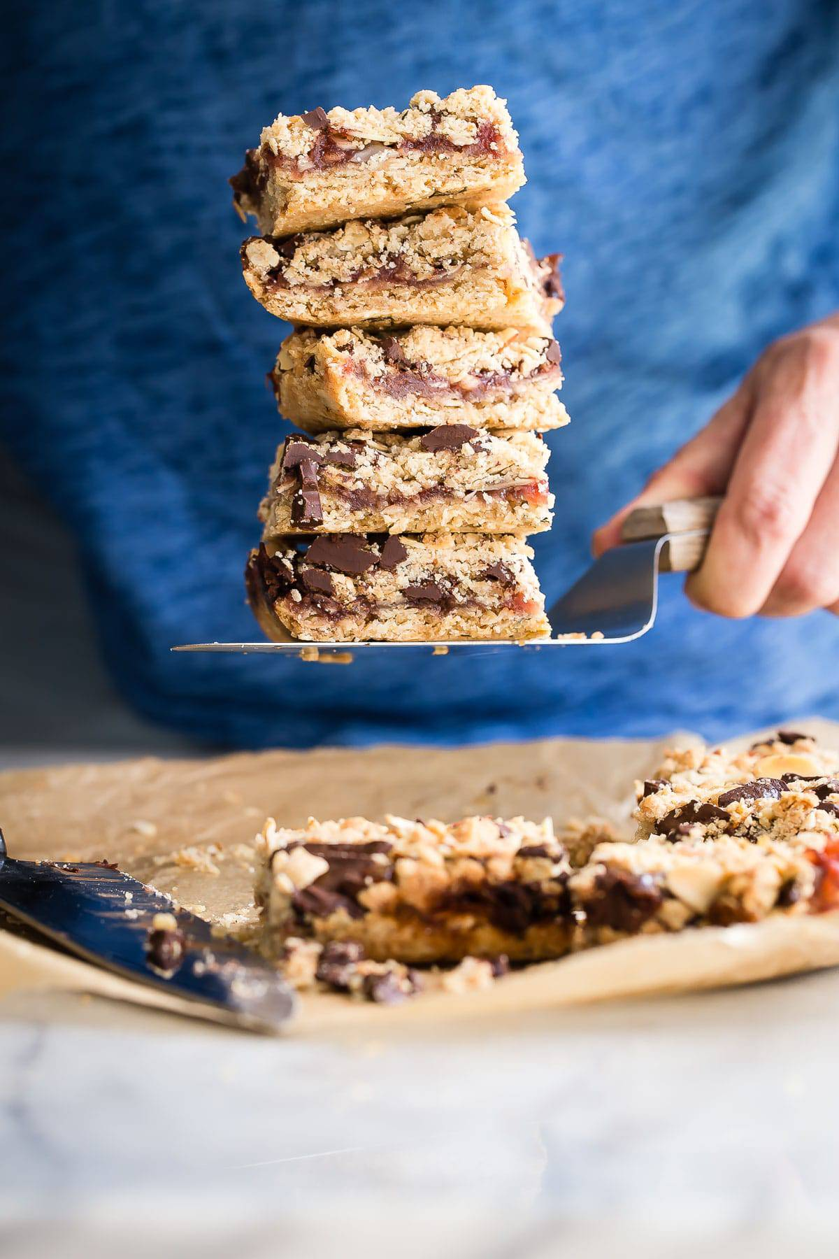 Strawberry Oat Bars with Thyme and Chocolate Chunks