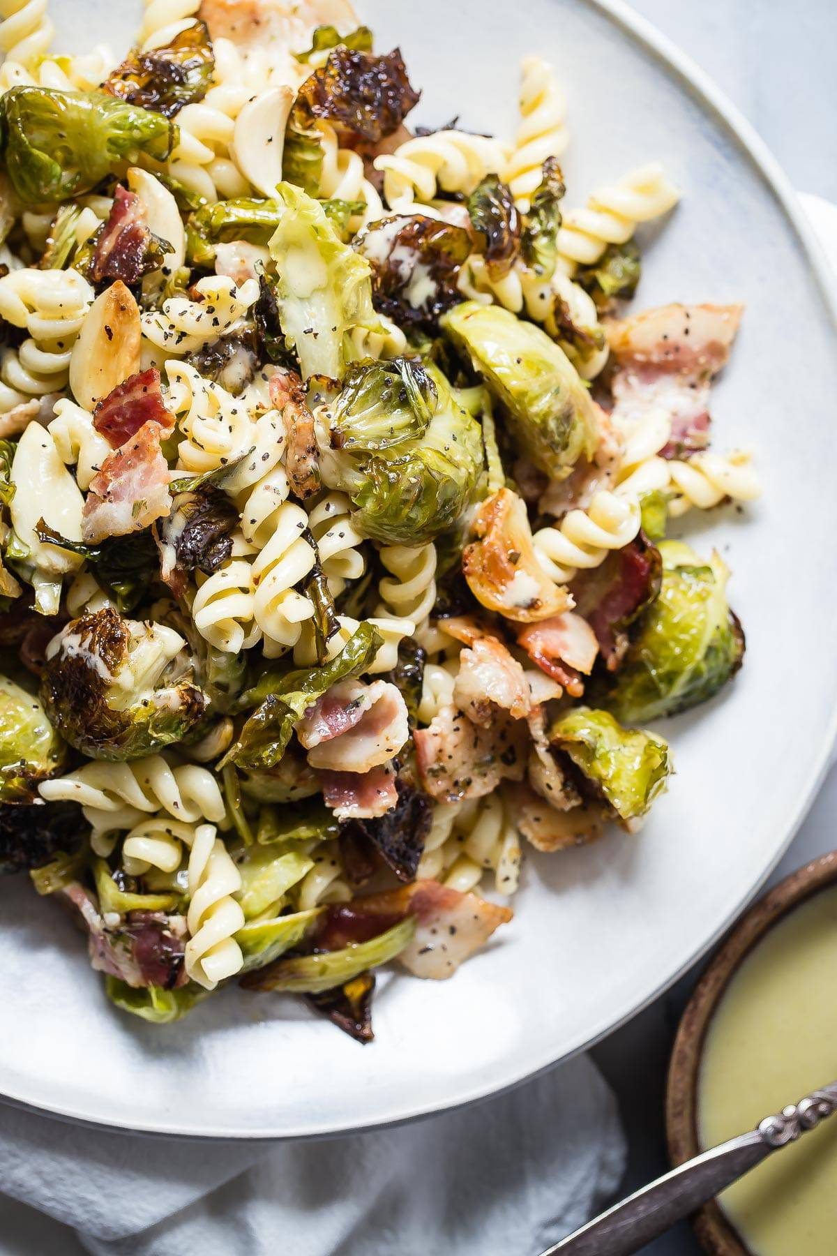Roasted Brussels Sprouts and Bacon Pasta Salad