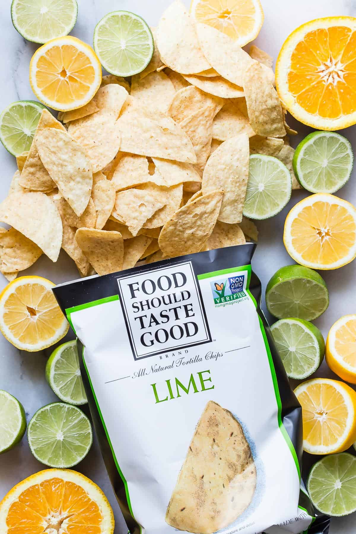 Chips with lemons and limes
