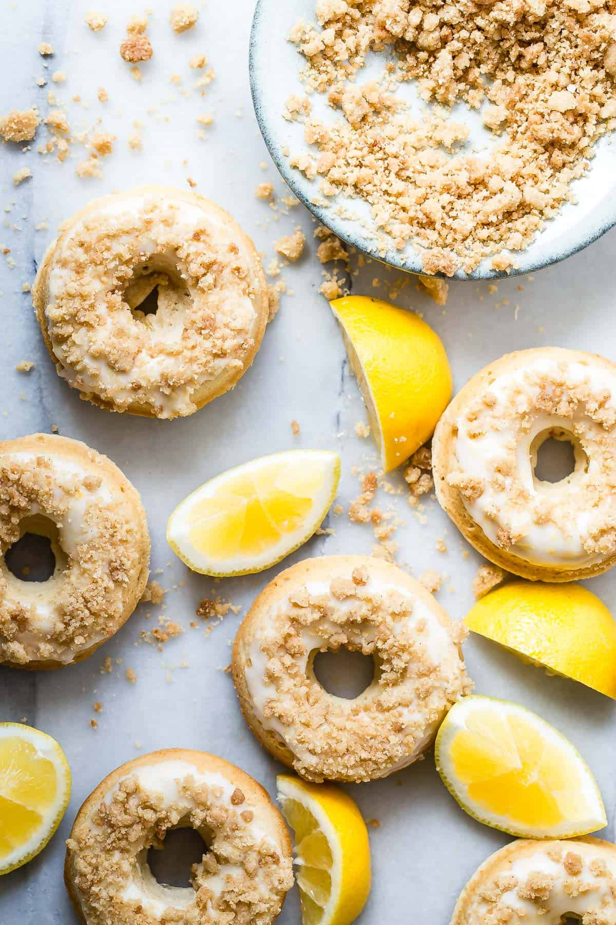 Lemon Donuts with a Crumble Topping