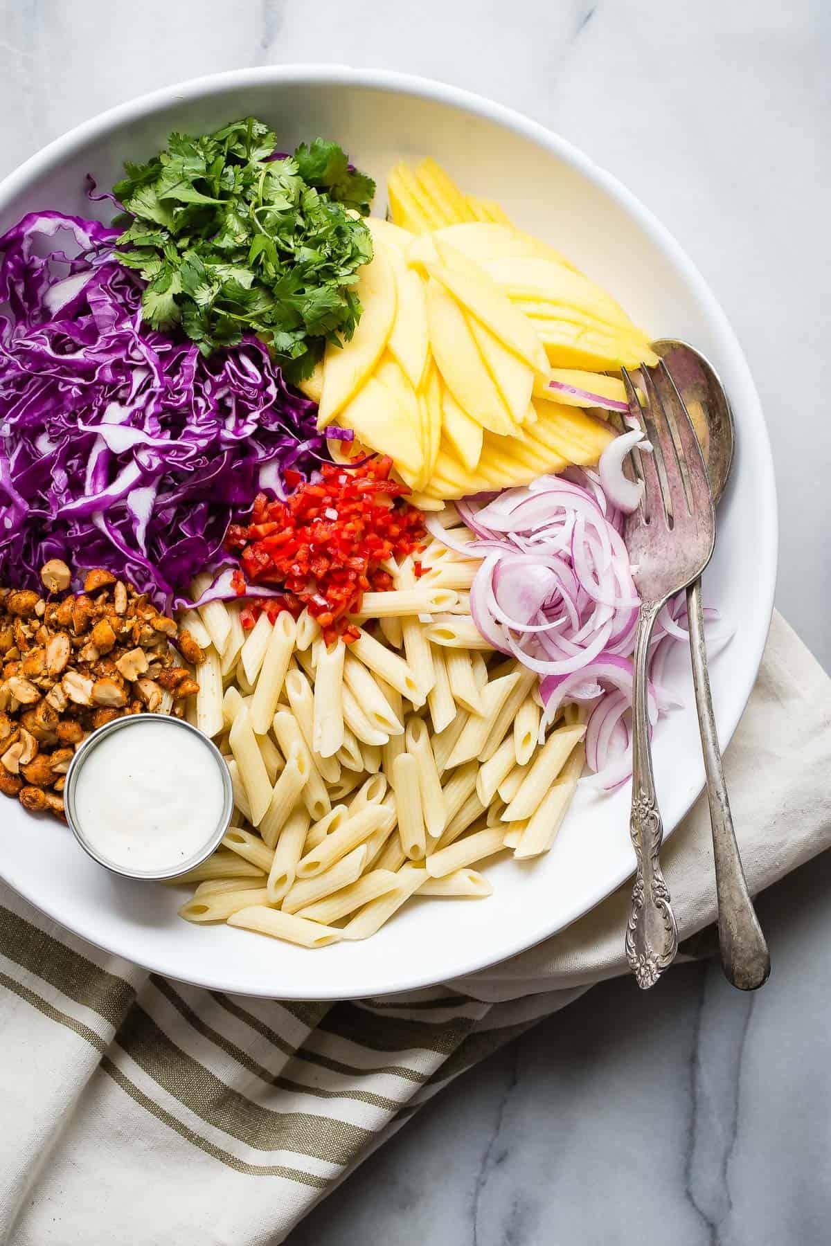 Pasta Salad with Mango and Citrus Yogurt Dressing