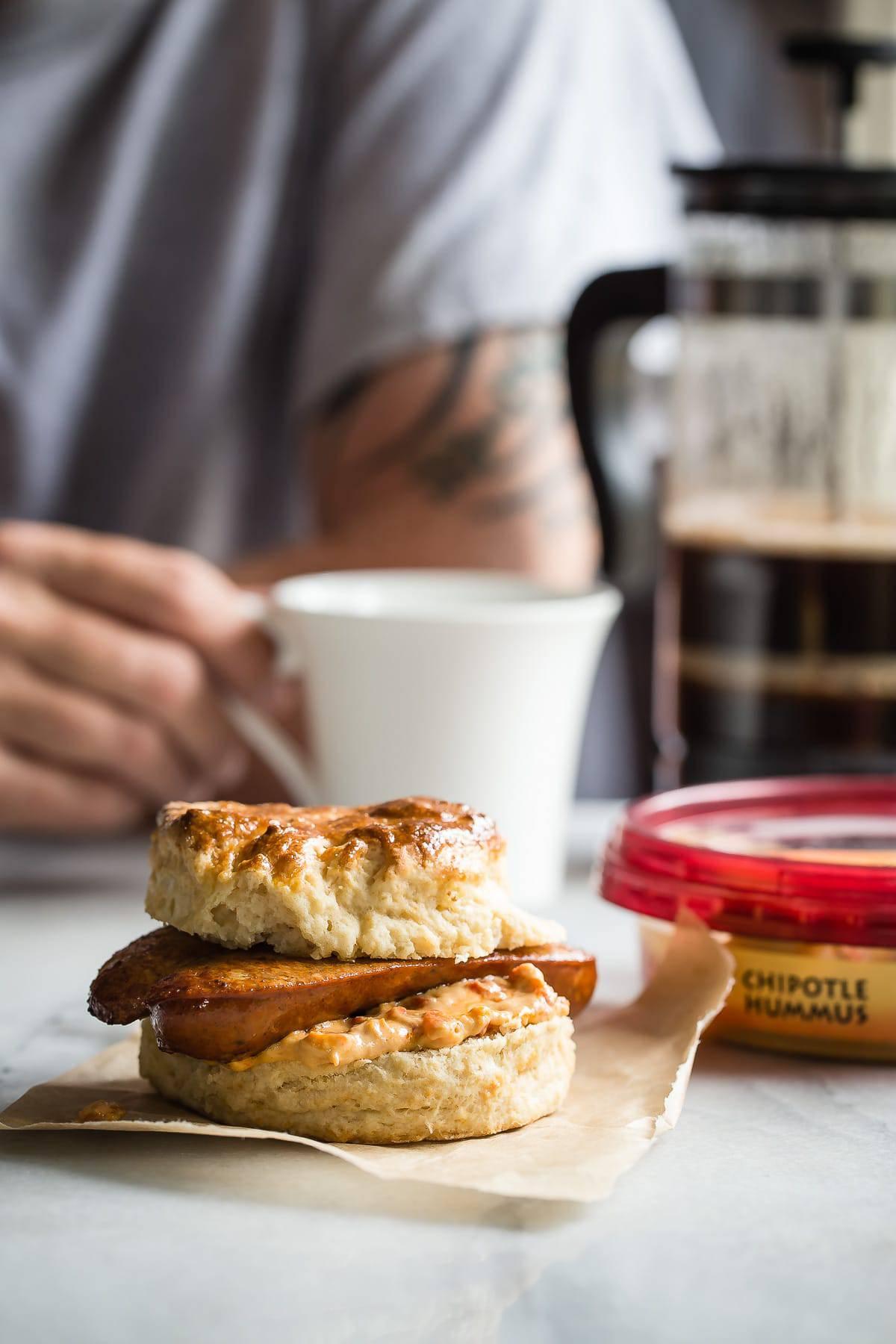 Chipotle Hummus Sausage Breakfast Sandwich