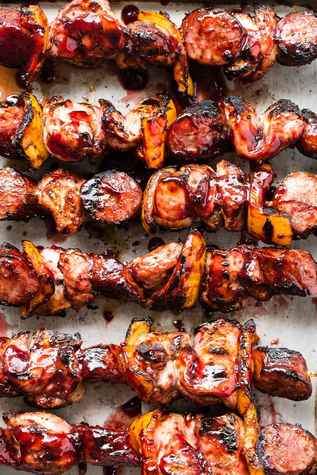 Chicken Kebabs with Cherry Bourbon Barbecue Sauce