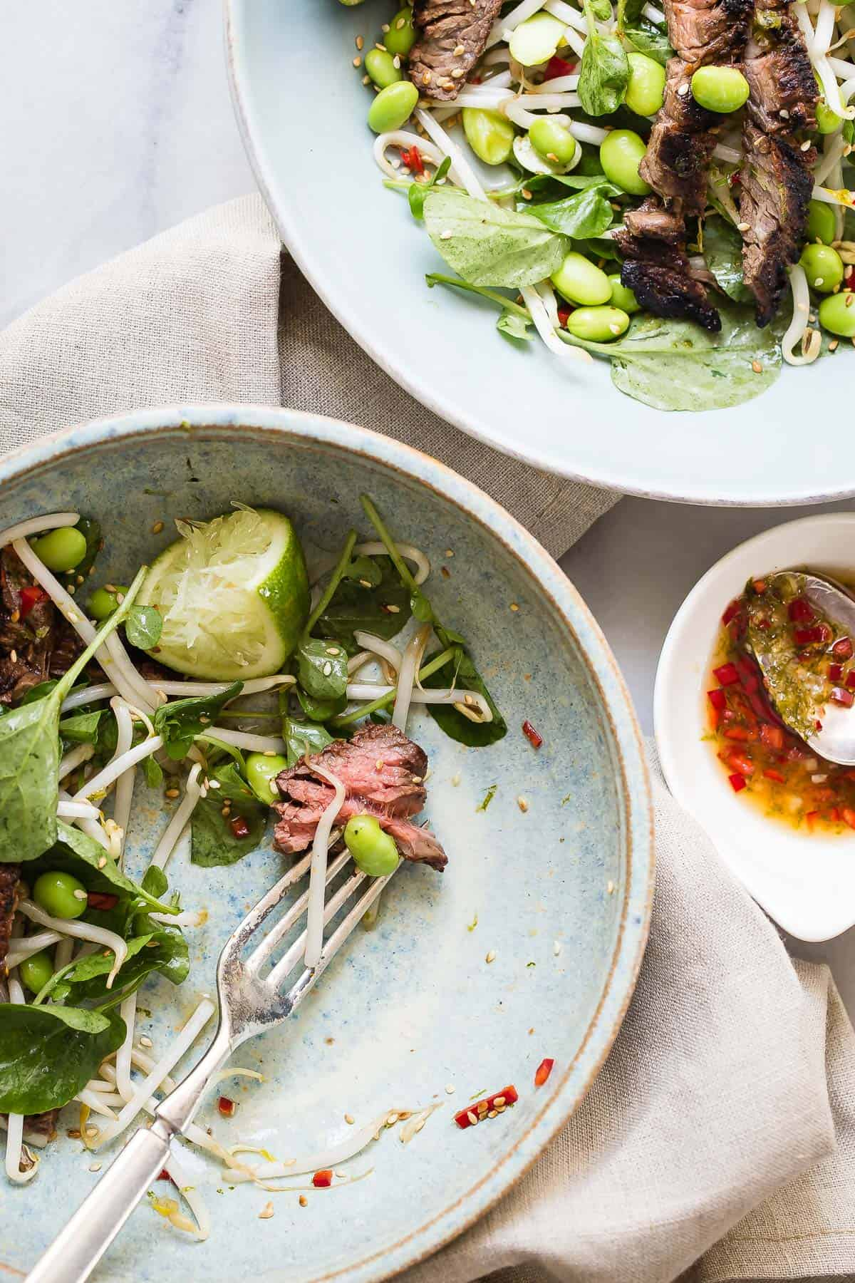 Skirt Steak Salad with Beansprouts and Watercress
