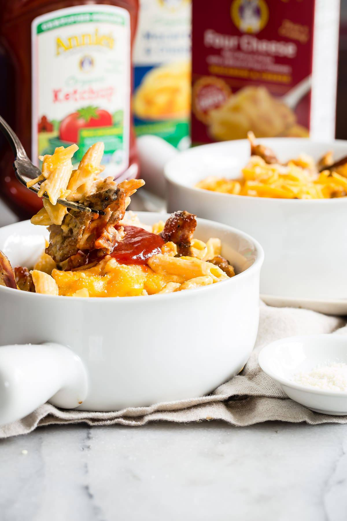 Macaroni and Cheese with BBQ Rib Meat