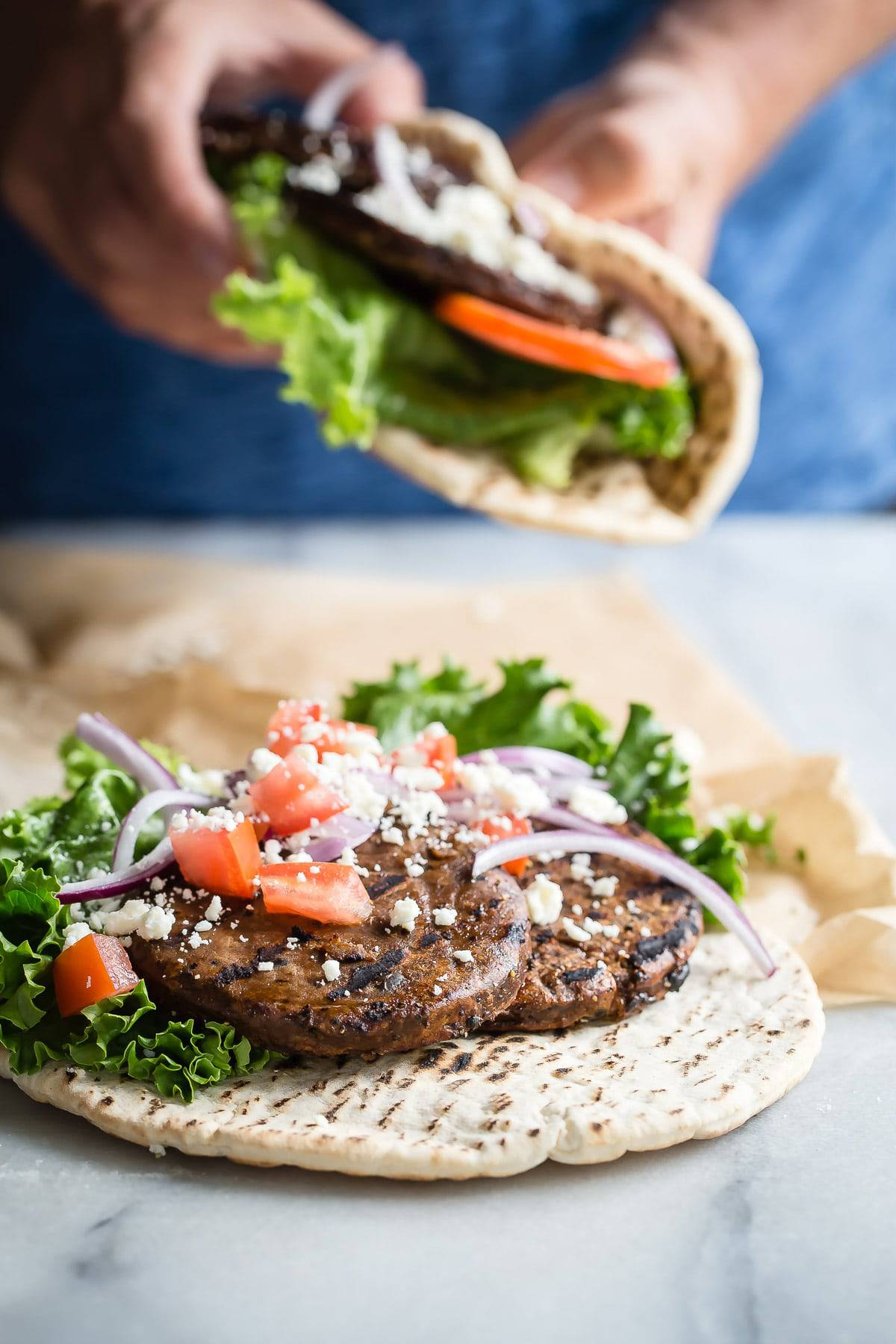 Pita Sandwich with Grilled Black Bean Patties