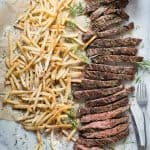 Skirt Steak with Truffle Oil Parmesan Fries