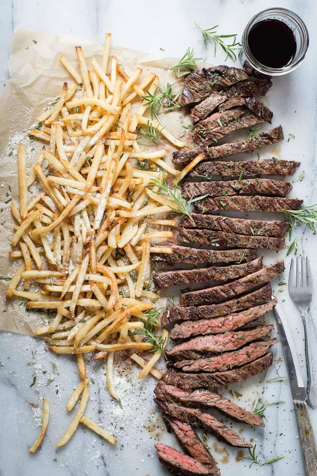 Skirt Steak with Truffle Oil Parmesan Fries