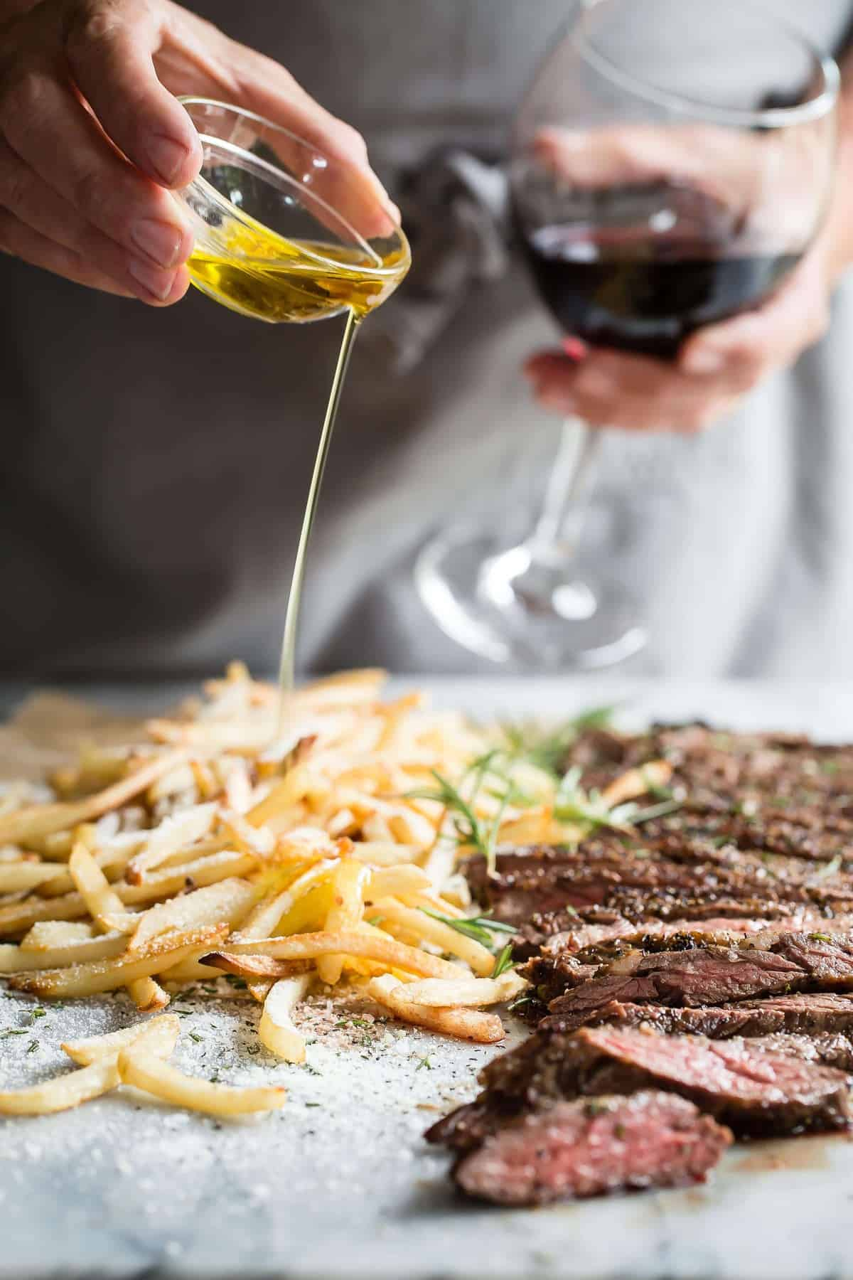 Skirt Steak with Truffle Parmesan Fries