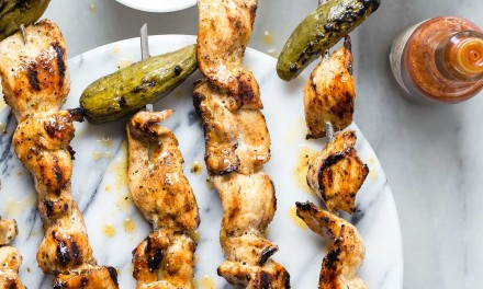 Hot Chicken Skewers with Baby Dill Pickles