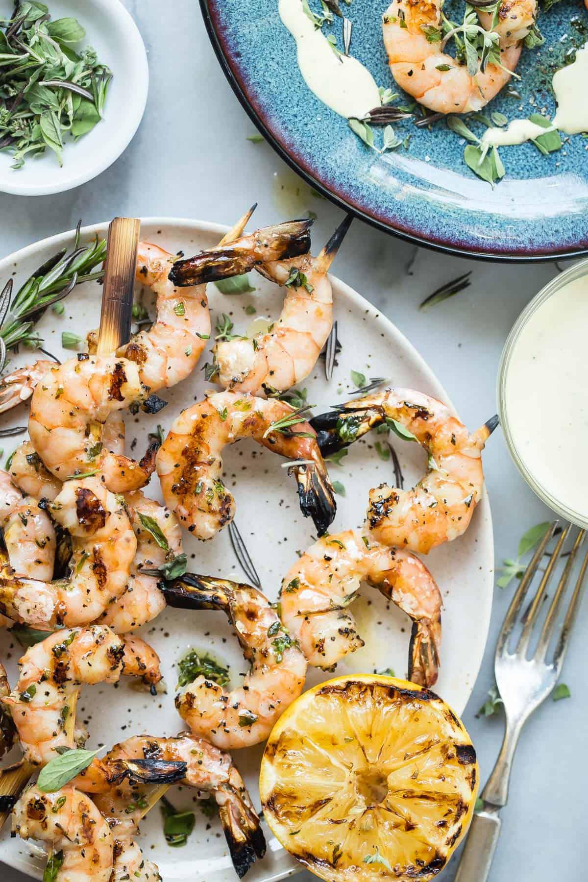 Grilled Shrimp Skewers with Lemon Aioli