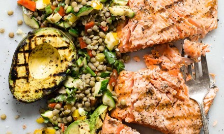 Grilled King Salmon with Lentil Salad