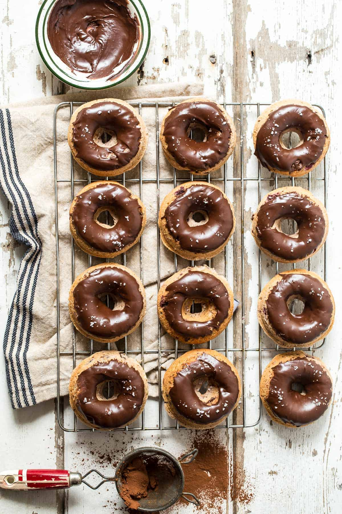 Cherry and Chocolate Glazed Baked Donuts - Foodness Gracious