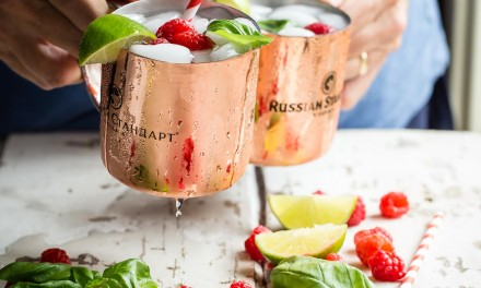 Moscow Mule Infused with Basil and Raspberries