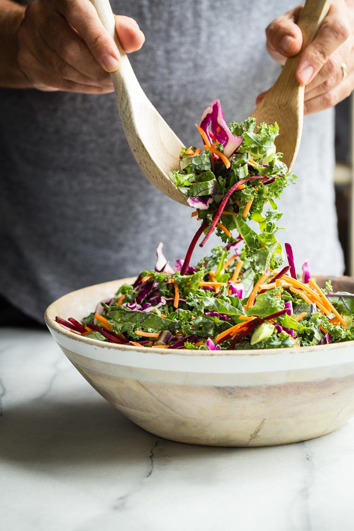 Kale Salad with Beets Carrots and Grilled Tofu