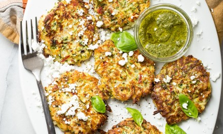 Zucchini Pancakes with Feta and Basil