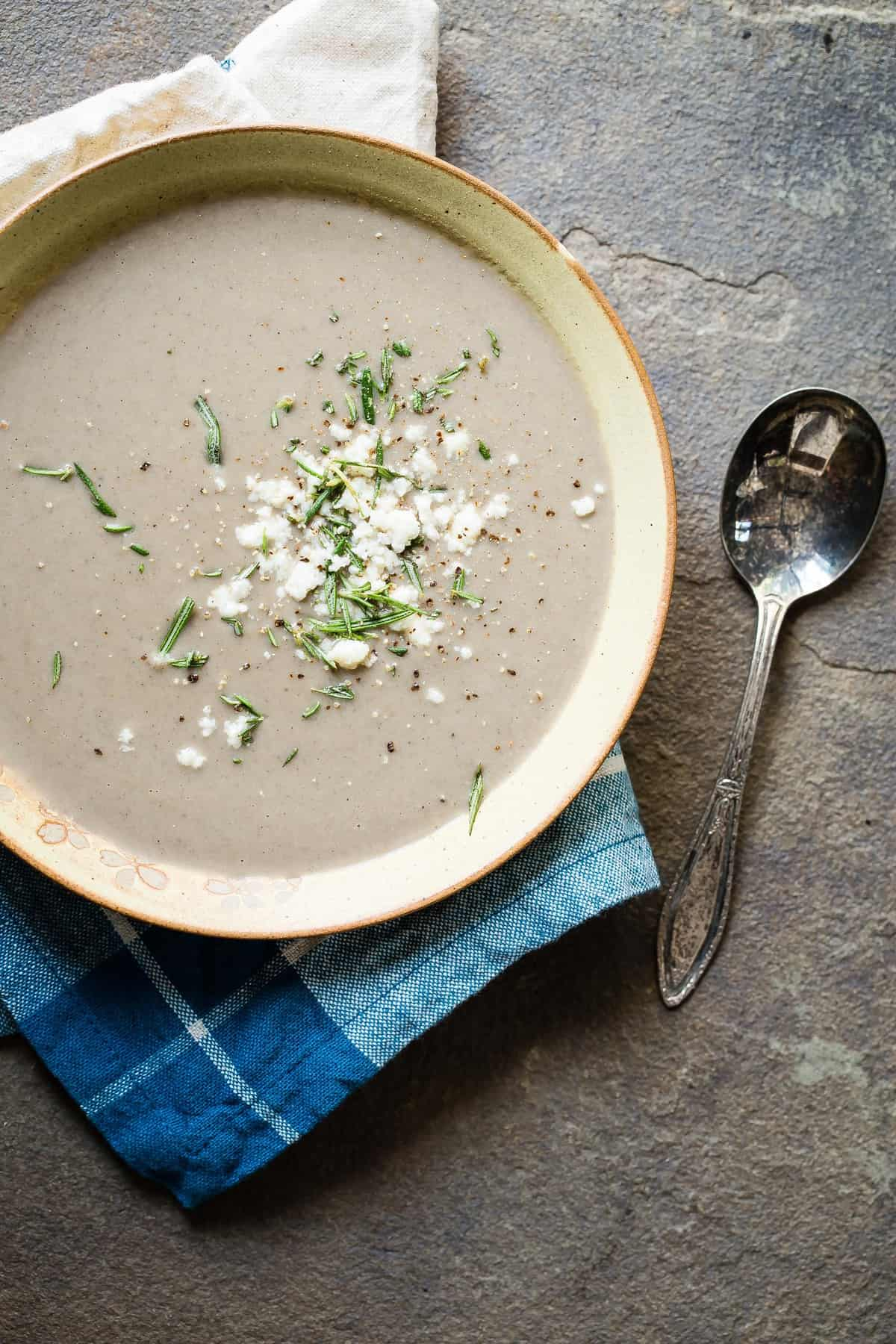 Roasted Eggplant Soup with Feta and Portobello Mushrooms