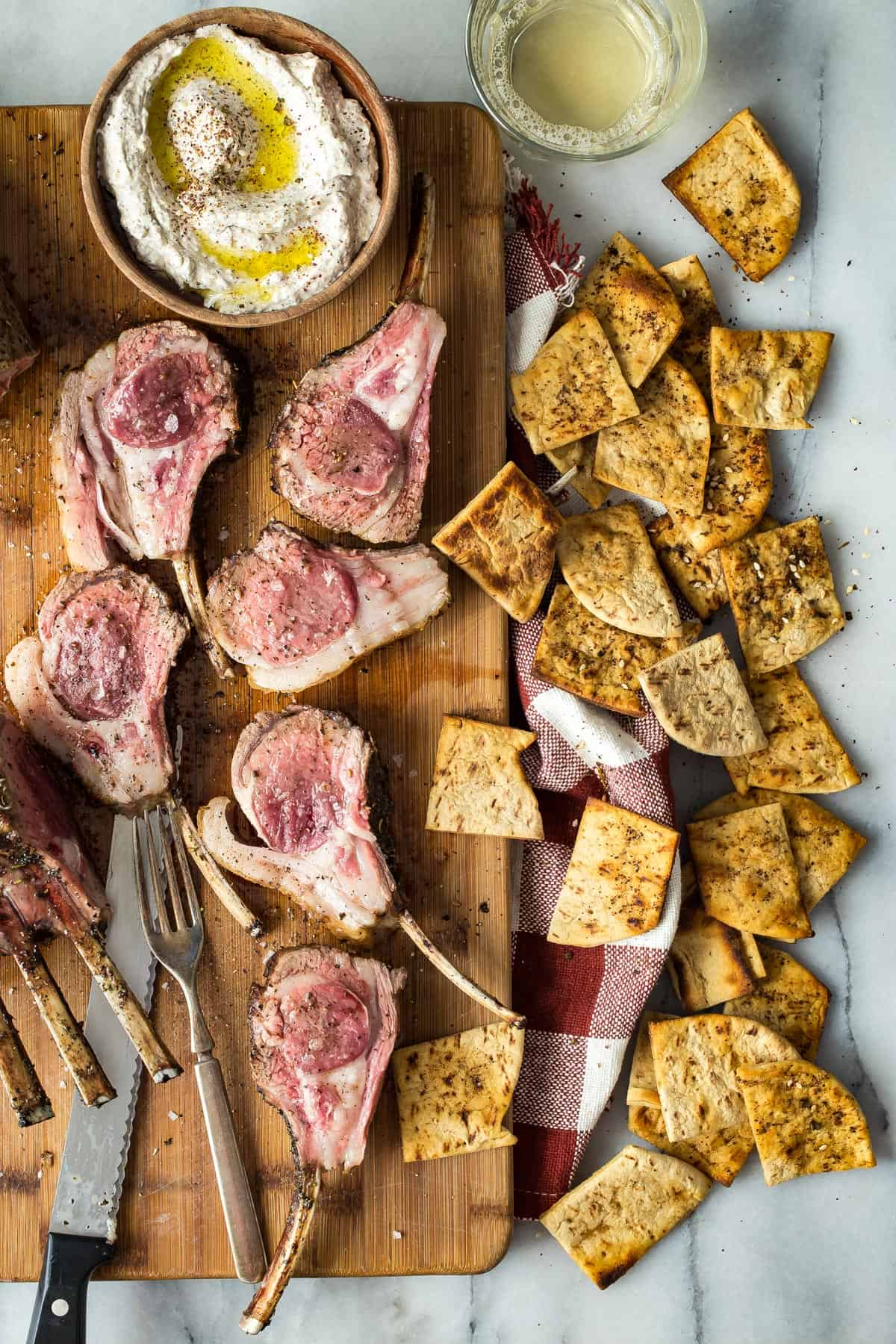 Lamb Chops with Za'atar and Olive Oil Dip