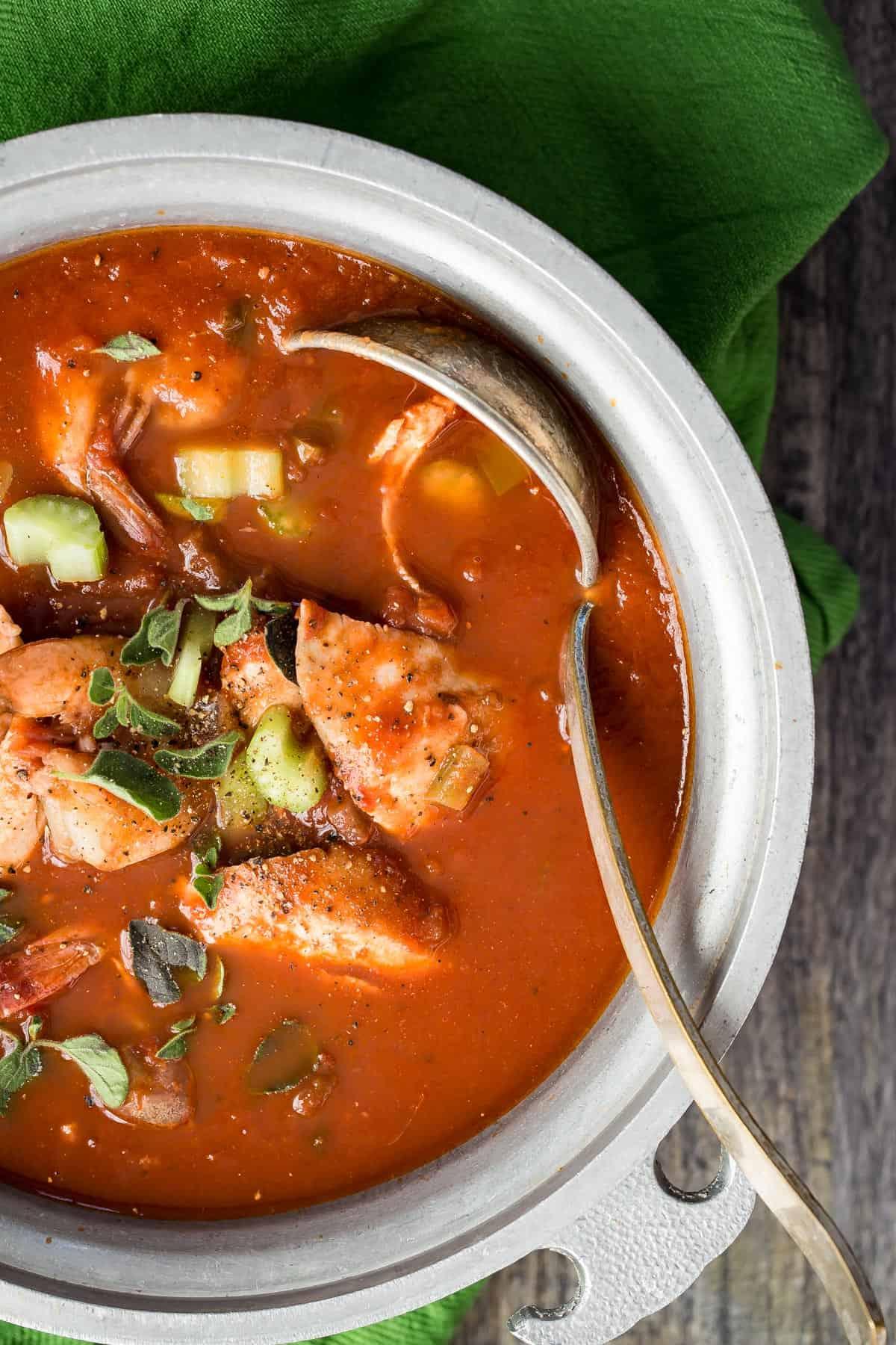 Tilapia Cioppino Recipe with Shrimp and Oregano