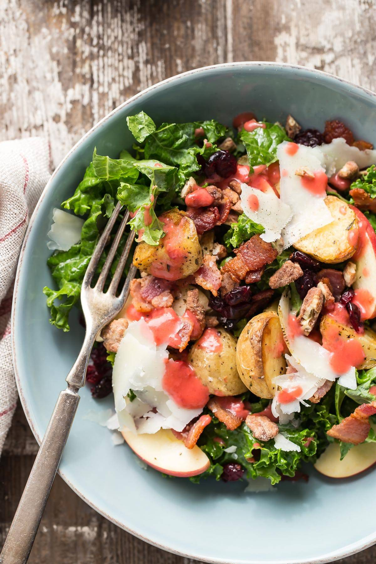 Warm Kale Salad with Roasted Potatoes and Bacon