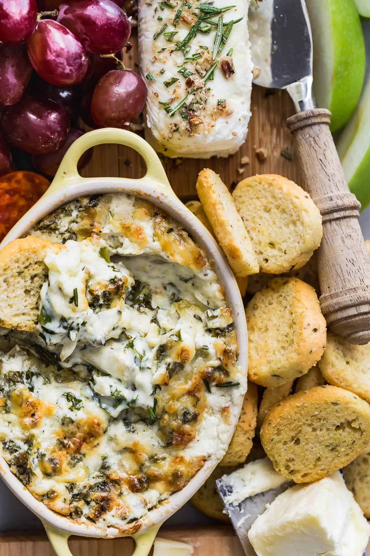 Artichoke Dip with Kale and four kinds of cheese!