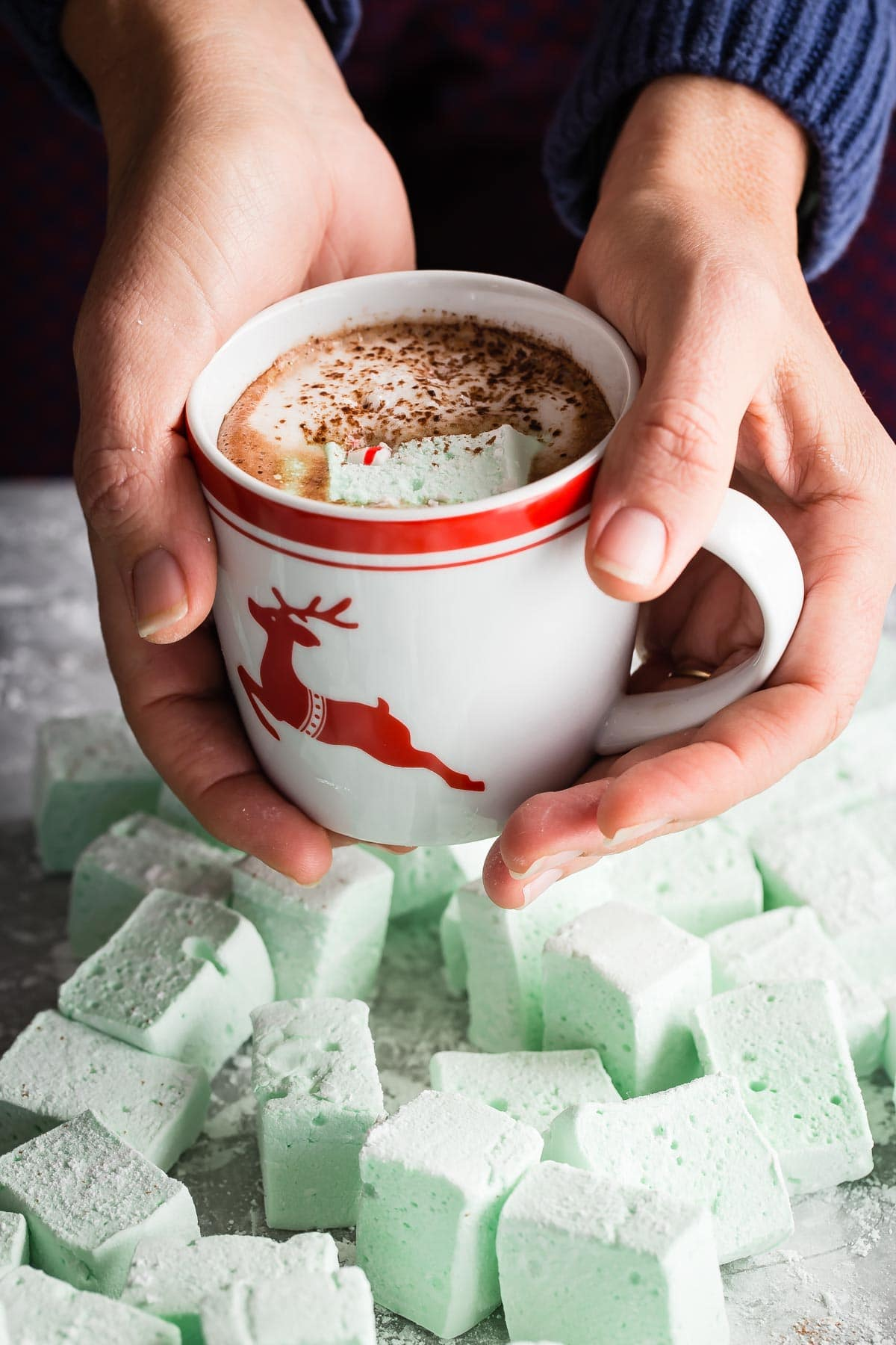 Yummy homemade Peppermint Marshmallows tossed in powdered sugar and ready to eat just on their own, or dropped into a steaming hot mug of hot chocolate! Top with crushed candy cane and cocoa powder.