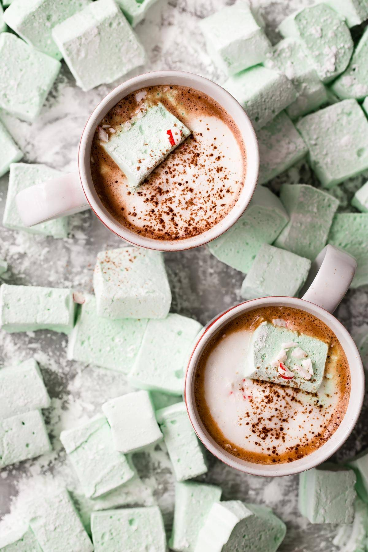 homemade Marshmallows tossed in powdered sugar and one sitting in a mug of hot chocolate