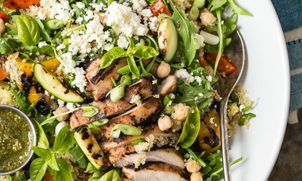 Quinoa Salad with Grilled Chicken and Pesto