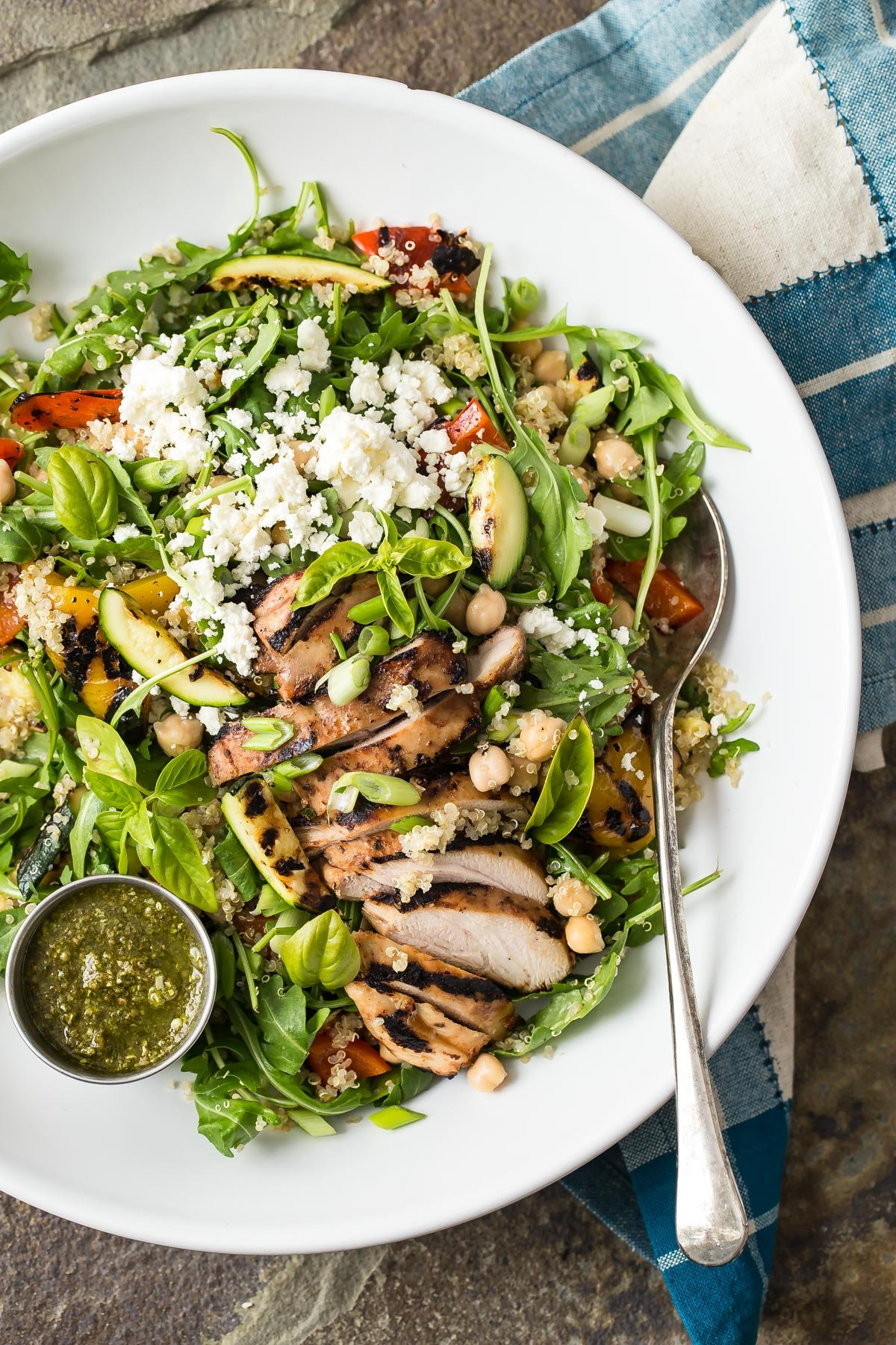 Quinoa Vegetable Salad With Grilled Chicken And Pesto