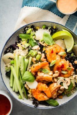 Healthy Dynamite Shrimp Grain Bowl